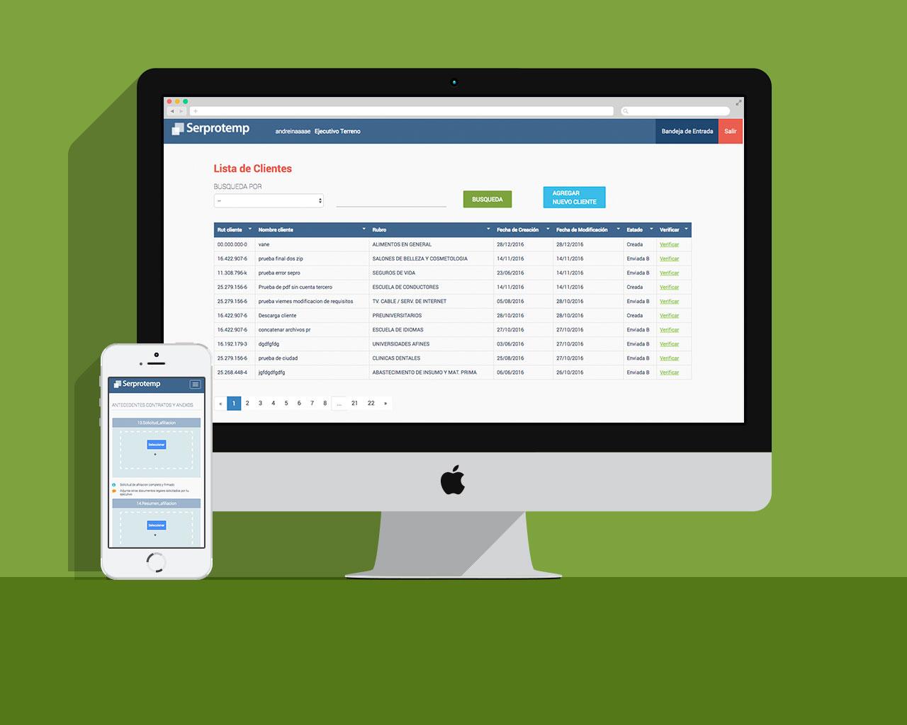 Portal de ventas en versión desktop y mobile aplicación web